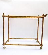 Vintage Hollywood Regency Gilt Gold Faux Bamboo Welded Metal Bar Tea Cart
