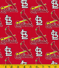 MLB ST LOUIS CARDINALS RED PRINT 100% COTTON FABRIC BY THE 1/2 YARD