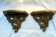 Pair Vintage Wall Hanging Wood & Plastic Gold Gilt Baroque - 2 Display Shelves