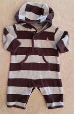 ADORABLE! BABY GAP UP TO 3 MONTH HOODED GRAY & BROWN STRIPED OUTFIT REBORN