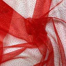 """Sparkle Glitter Tulle Fabric Wedding Decoration Craft Event 60"""" - Red"""