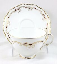 6 SETS CUPS & SAUCERS ROYAL DOULTON CHINA STRASBOURG H4958 GOLD SCROLL MAROON