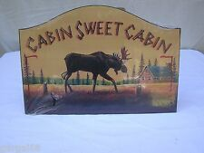 Rustic Cabin Sweet Cabin Moose Wooden Decorative Sign Home Decor
