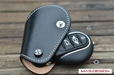 Leather key case  for Mini Cooper S F56 F55 F54 in Black with White stitch style