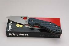 Spyderco DOMINO Flipper CTS XHP Knife Blue Carbon Fiber Handle C172CFBLTI