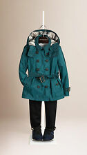 NEW $375 Burberry Girls Technical Hooded Trench Coat Jacket Parka Size 7Y/122cm