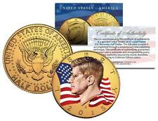 2015 JFK John F Kennedy Half Dollar US Coin P Mint 24K Gold Plated - WAVING FLAG