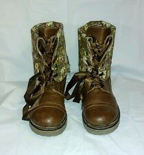 Women's Soda 8M Brn Faux Leather Floral Lined Snap Ankle/Knee Hi Fold Over Boots