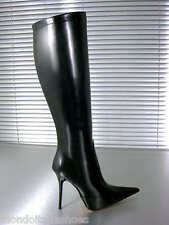 MORI ITALY KNEE HIGH POINTY BOOTS STIEFEL STIVALI SHOES LEATHER BLACK NERO 37