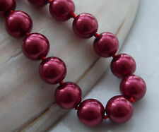 AAA 10mm Red South Sea Shell Pearl Round Beads Necklace 18'' F-08