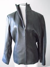 Nine West Jacket Coat Leather Black M Medium Zippered Closing Lined