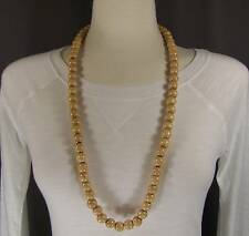 "Light Brown wood big bead long 30"" necklace beaded wooden lightweight"