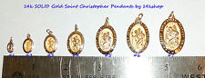 14K Solid Gold SMALL Medium Oval St St. Saint Christopher Medal   Pendant Charm