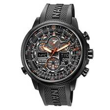 BRAND NEW CITIZEN ECO-DRIVE NAVI HAWK PERPETUAL CHRONO ALL BLACK JY8035-04E NIB