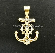 24K Gold Plated Anchor Crusifix Charm Pendant - W/O Necklace