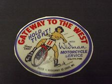 THE RACING LADY, GATEWAY TO THE WEST, WIDMAN MOTORCYCLE, REFLECTIVE STICKER!