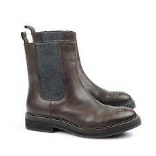 Brunello Cucinelli Leather Chelsea Boot With Rhinestones 39 US 9 NEW BCWS 262