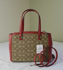 Coach 36905 Khaki TRue Red Signature Stanton 26 Carryall Satchel Crossbody