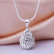 Fashion Women Silver Necklace Pendant Crystal Water-Drop Chain Gift