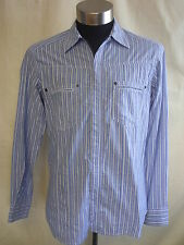 Mens Shirt - Dolce & gabbana, size L, blue/white stripe cotton, zip up - 1943