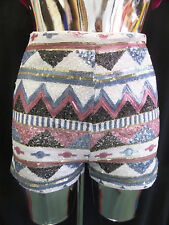Womens Ladies New Aztec Sequin Hot Pants/Shorts (Sizes S/M/L)