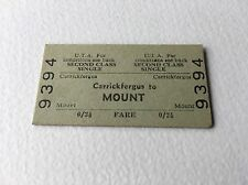 Old Vintage Irish Ulster UTA Railway Train Ticket Carrickfergus Mount 2nd Class