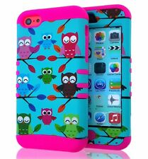For iPhone 5C - HARD&SOFT HYBRID HIGH IMPACT CASE COVER TURQUOISE GREEN PINK OWL