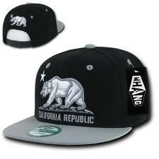 Black & Gray California Republic Cali Bear Flat Bill Snapback Snap Back Cap Hat
