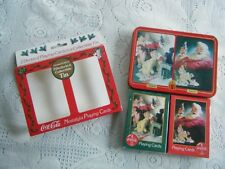 Coca-Cola Christmas Playing Cards Two Deck Set In Tin 1996 Swap Crafting
