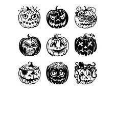 Inkadinkado Clear Stamps, Pumpkin Faces Inchie Bundle Halloween Fall Cling