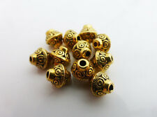 25 x Tibetan Style Bicone Saucer Spacer Beads Antique Gold Tone 7mm x 6.5mm
