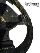 BLACK PERFORATED LEATHER YELLOW STITCH STEERING WHEEL COVER FOR PEUGEOT 406