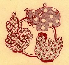 Vintage Embroidery Transfer repo 147 Potholder pattern Bird Chicken Pig Boy 40s