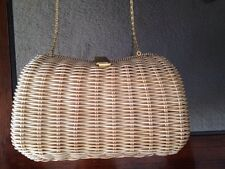 Rare VINTAGE WOVEN WICKER PURSE MADE IN THE BRITISH CROWN COLONY OF HONG KONG