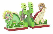 Dinosaur Childrens Wooden Bookends Kids Bedroom Décor Fantasy Fields