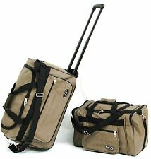"2PC SET 40LB CAP. BROWN 21"" &18"" CARRY ON SET WHEELED ROLLING DUFFLE BAG LUGGAGE"
