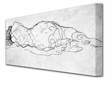 16 Inch RECLINING WOMAN Sketch by GUSTAV KLIMT Framed Canvas Art Picture Print