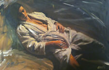 "SUPERB WILLIAM OXER ORIGINAL CANVAS ""The Interlude"" male model nude  PAINTING"