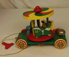 Vintage Brio CAROUSEL HORSE Merry-Go-Round Wooden Pull Toy Made in Sweden RARE
