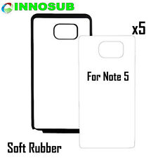 5x Blank Dye Cases cover custom skin Sublimation For Galaxy Note 5-Rubber Black