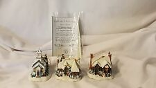 Thomas Kinkade's Winter Memories Set 7 Illuminated Ornaments - All 3 Pieces!