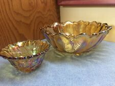 Vintage Carnival Amber Iridescent Glass Flower Bowl +1 Candle Holder bubble foot
