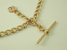 """Double watch chain Art Deco 9 carat gold dated Chester 1916 15"""" long 35.8 grams"""