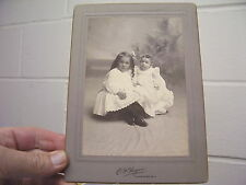 VINTAGE CABINET PHOTO, CJ HAGUE, LOCKPORT NY, 2 CHILDREN IN WHITE
