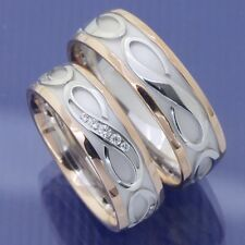 Unendlich Eheringe Hochzeitsringe  Trauringe 585 Weissgold und Rotgold P4223594