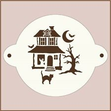 "HAUNTED HOUSE 9"" ROUND CAKE STENCIL ON SALE! - HALLOWEEN - The Artful Stencil"