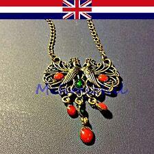 Diamantes de imitación de estilo vintage doble Pavo Real Colgante Collar Largo 68 cm vendedor de Reino Unido