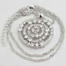 Small Clear Round Cubic Zircon White Gold Plated Pendant 45+5 CM Chain Necklace