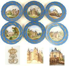 6 ANTIQUE FRENCH SEVRES STYLE PORCELAIN PLATES LOUIS PHILIPPE NAMED CHATEAU