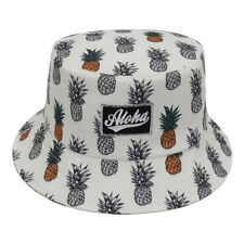 Unisex Boonie Hawaiian Bucket Hat White Pineapples Fruit Fishing Outdoor Sun Cap